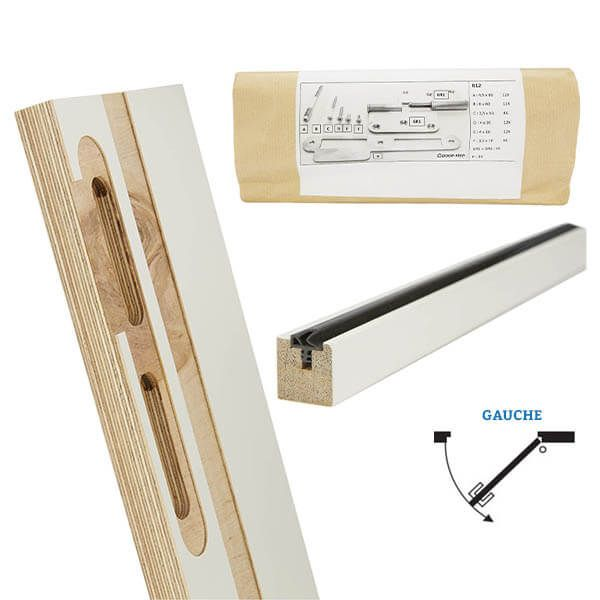 Door-Tech Kit Finition RF0 2115x127mm Gauche Ébrasement/Listel/Set Fixation