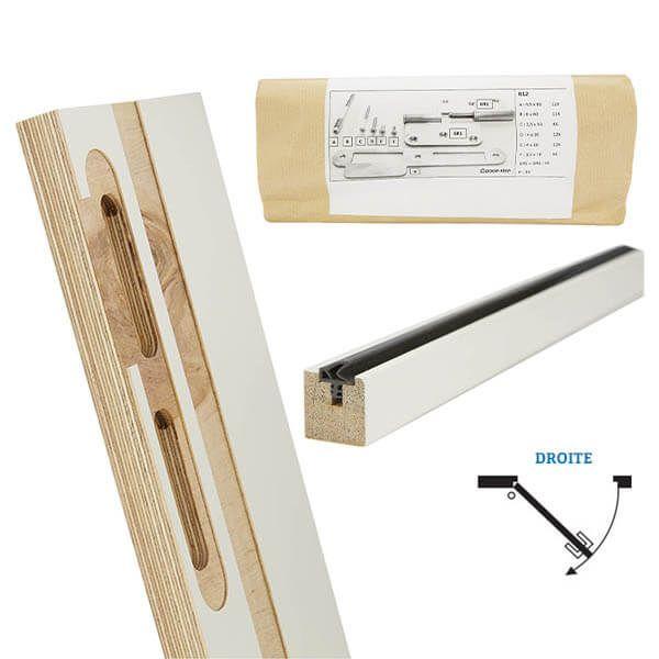 Door-Tech Kit Finition RF0 2115x180mm Droite Ébrasement/Listel/Set Fixation