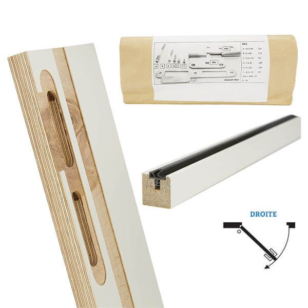 Door-Tech Kit Finition RF0 2015x127mm Droite Ébrasement/Listel/Set Fixation