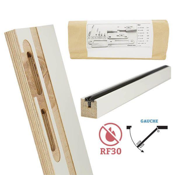 Door-Tech Kit Finition RF30 2115x180mm Gauche Ébrasement/Listel/Set Fixation
