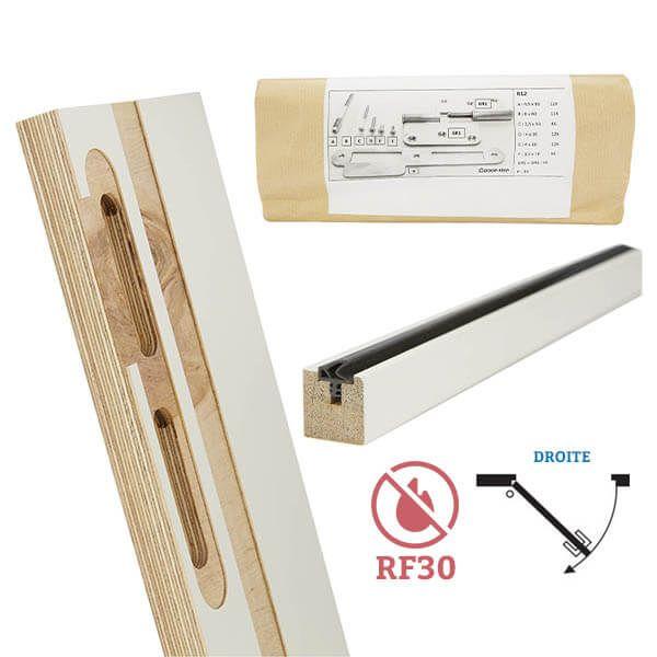 Door-Tech Kit Finition RF30 2015x102mm Droite Ébrasement/Listel/Set Fixation