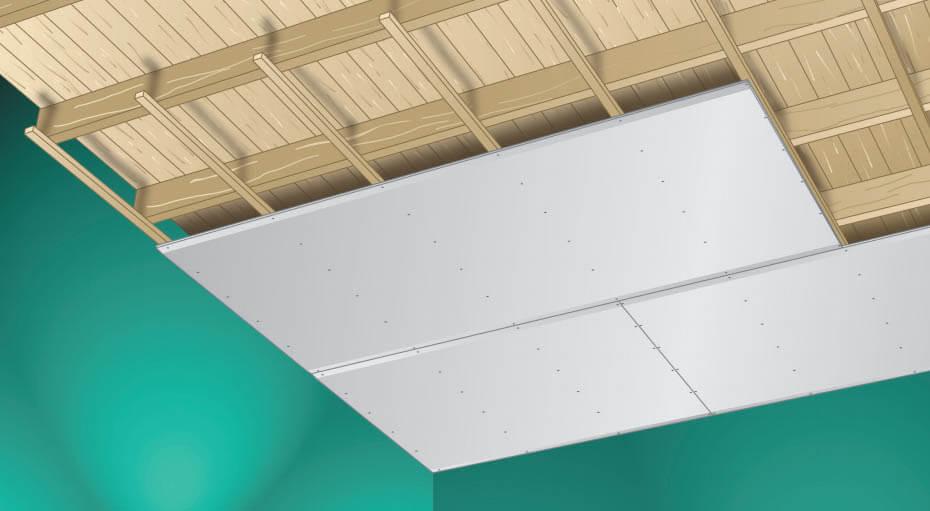 Plafond sur lattes en bois